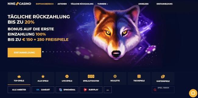 Nine Casino Webseite
